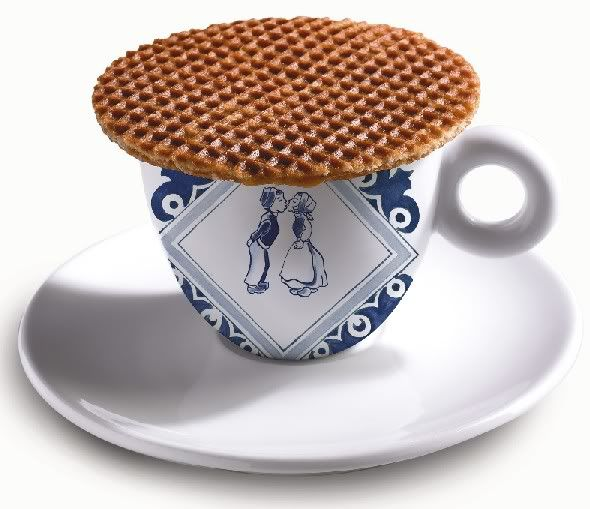 Stroopwafel: This is the best thing you will ever eat! Place over hot coffee for two minutes to make it warm and the caramel inside soft. This changed the way I drink coffee forever! So good. They're Dutch so I have to order them online.