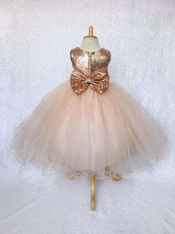 CHAMPAGNE Flower Princess Girl Dress Recital Dance Gown Pageant Wedding Birthday
