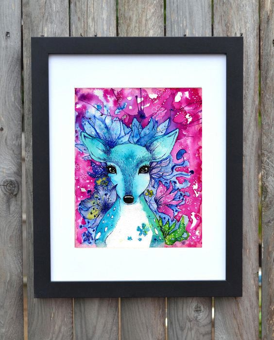 Stampa Capriolo Fantasy con motivo floreale, fiori blu, decorazione casa,regalo per lei, splash art di PikiibooArtShop su Etsy  #deer #print #watercolorart #etsy #homedecor #seller #handmade