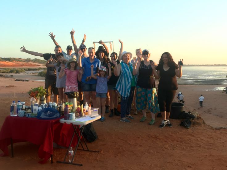 Broome Community Seagrass Monitoring Project volunteers gather for coffee & muffins before heading out to our Port site in Roebuck Bay, Western Australia
