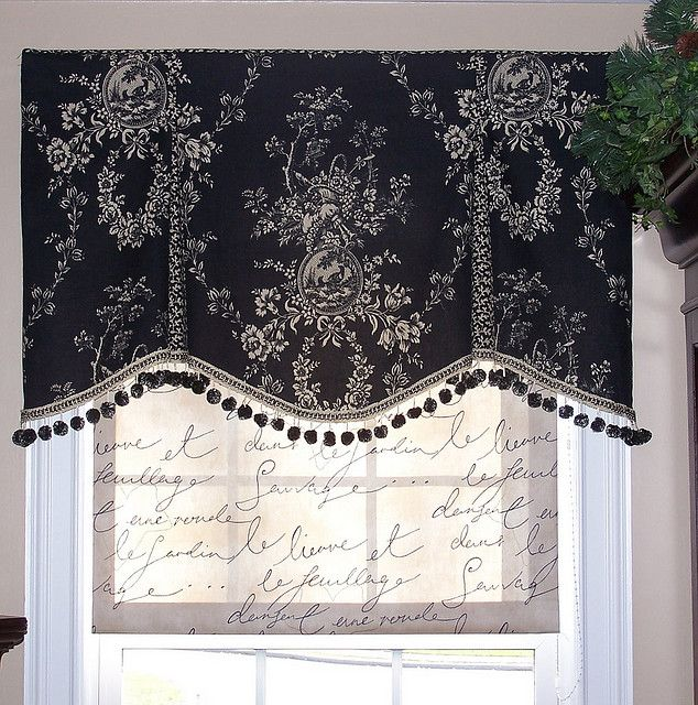 Simple valance in a beautiful statement fabric, great attention to details. Well done!~Marie-Window Designs Etc. ....black & white, pleated valance with pom pom trim   # Pin++ for Pinterest #