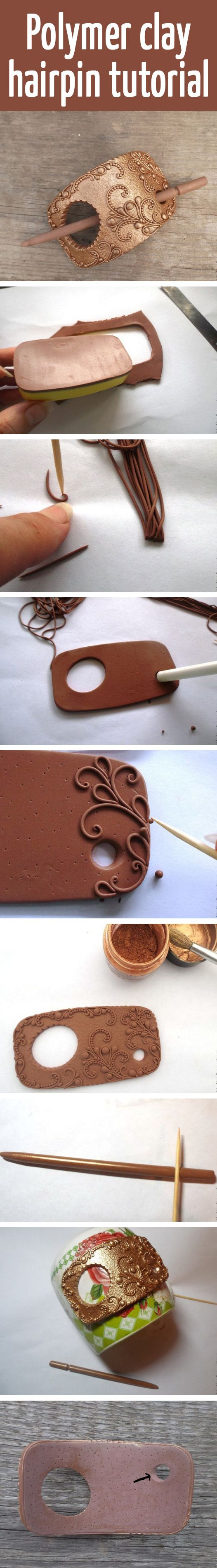 Polymer clay hairpin tutorial