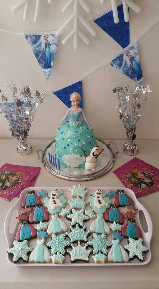 Pink Milk & Peonies - Frozen Elsa cake and frozen elsa, anna and olaf bisicuits @pink_milk_and_peonies