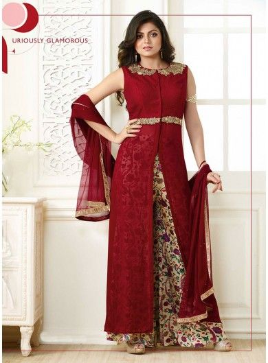 Cute Cream and Maroon Designer Palazzo Salwar Suit