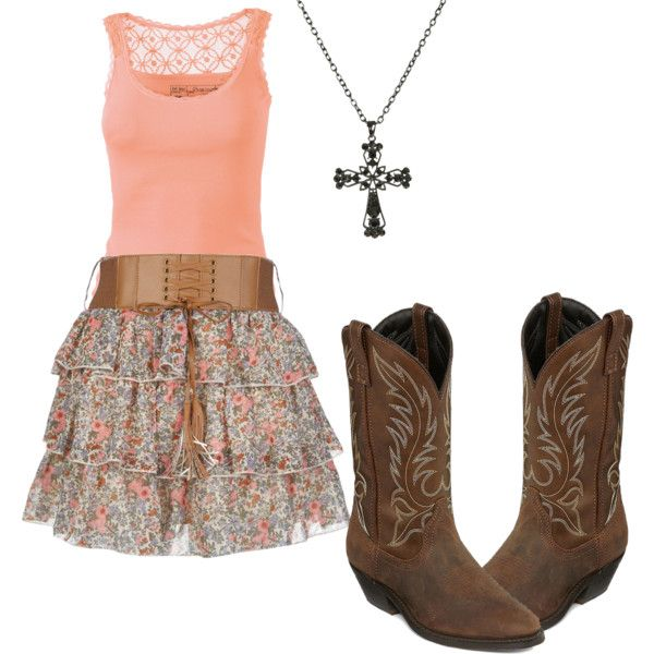 Church outfit #Country outfit #Summer dress #Cowboyboots #Crossnecklace