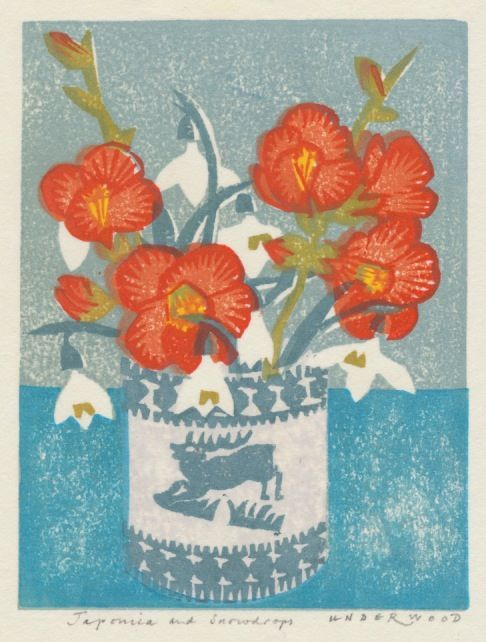 """Japonica and Snowdrops"" by Matthew Underwood (woodblock print)"