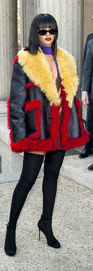 Rihanna's Miu Miu Fall 2014 Show Prada Fall 2014 Colorblock Shearling Coat | The House of Beccaria~