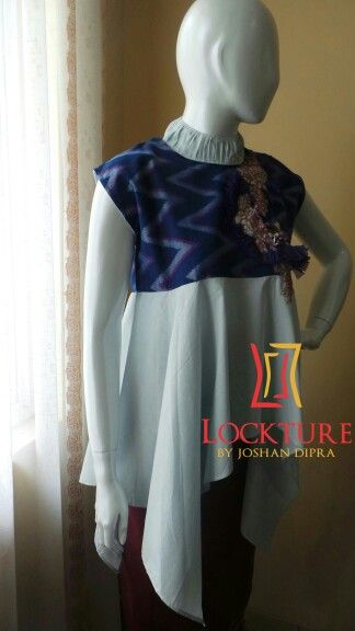 LK blue 002 - Renata top linen mix tenun rangrang