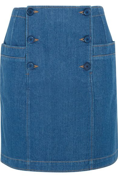Blue denim Button fastenings along front 100% cotton Machine wash or dry clean Designer wash: Indigo
