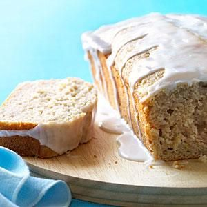 """If I ever find a """"Pineapple Guava""""... Pineapple guava, also called feijoa, is a fruit that adds a sweet-tart-floral flavor to foods like this quick bread. The glaze adds a bit of sweetness to each slice, but it's good without the glaze too."""