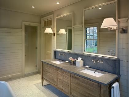 Reclaimed Wood Vanity, Soapstone, Transom Shower Entry, Varying Width In  The Wood Plank Walls