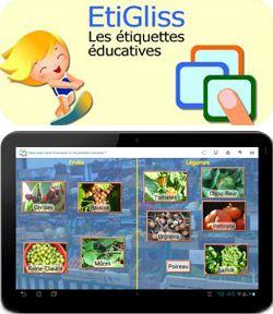 EtiGliss est une application éducative pour tablette Android dont le principe pédagogique repose sur le glisser/déposer d'étiquettes et d'images.