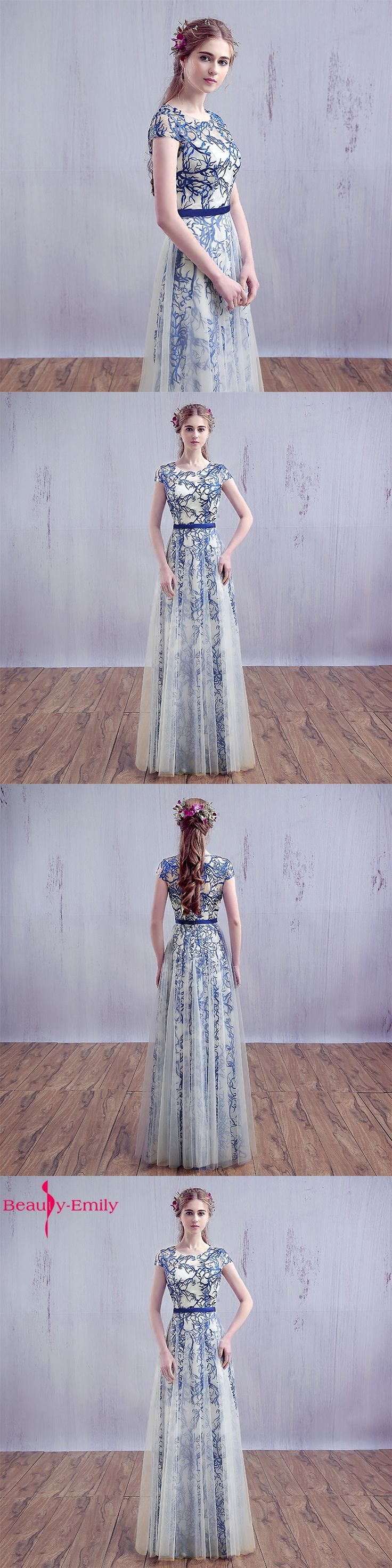 Evening Dresses 2017 Bride Banquet Lace Long Party Gown Elegant Blue and White Porcelain Embroidery Long Prom Dresses 2017