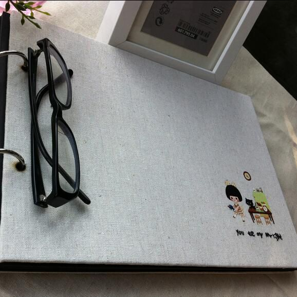 My Girl 29.7*21CM Horizontal 2 Ring  Linen Wire Binding Sticky Type DIY 20 Sheets 40P  Retro Album Creative Customization  Album