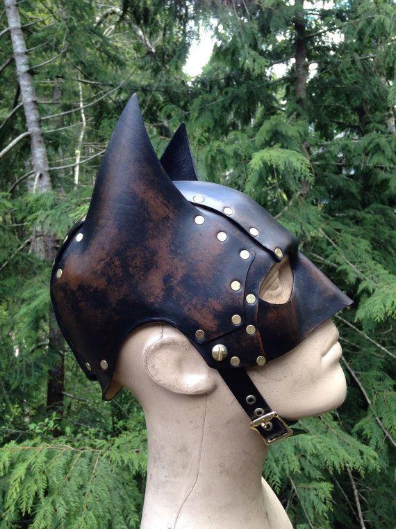 Leather batman cowl. Mask. Helmet. Steambat by SkinzNhydez