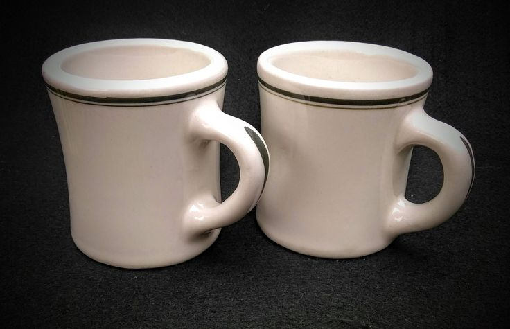 Set of Vintage 1960's Victor Restaurant ware 6 oz Diner Style Hotel China Coffee Mugs Beige/ Coloring with Green Striped Rim and Handle by TimeTravelersRelics on Etsy
