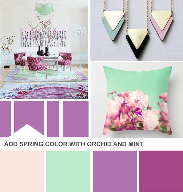 Tuesday Huesday: Revisiting Radiant Orchid (http://blog.hgtv.com/design/2014/02/25/tuesday-huesday-revisiting-radiant-orchid/?soc=pinterest): Colors Pallets, Colors Combos, 2014 Colors, Spring Colors, Radiant Orchids, Colour Palettes, Mint Colors, Mint Green Colors Palettes, Colour Schemes