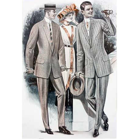 Antique Advertising 1913 Men's Clothing at Horse Races, Salesmen Sample Catalog Page for Suits. This is a VERY LARGE, original print on heavy card