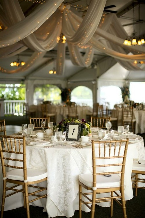 White #wedding #decor  I like the lights/drapery