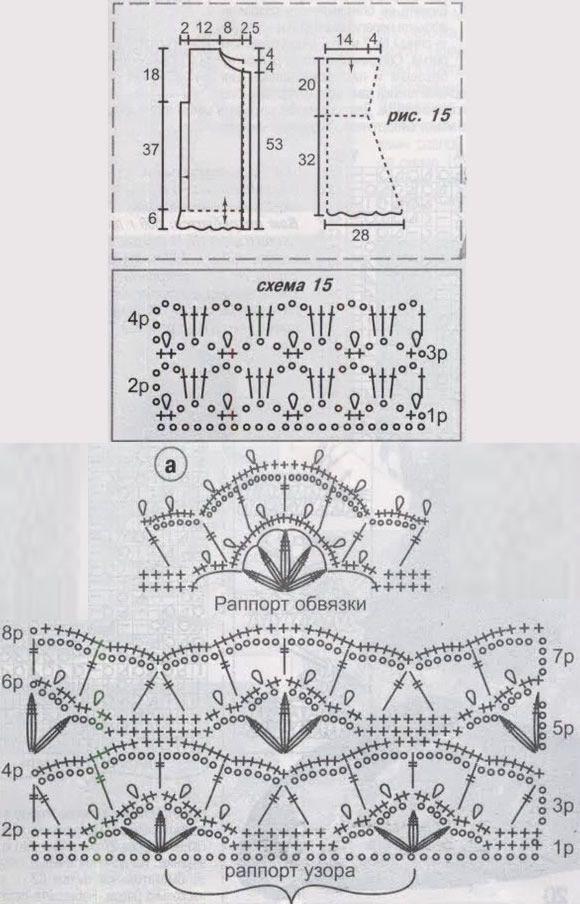 схемы вязания кружева крючком pattern for jacket.