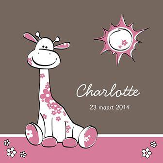 Roze giraffe - Geboortekaartje  www.carddreams.be