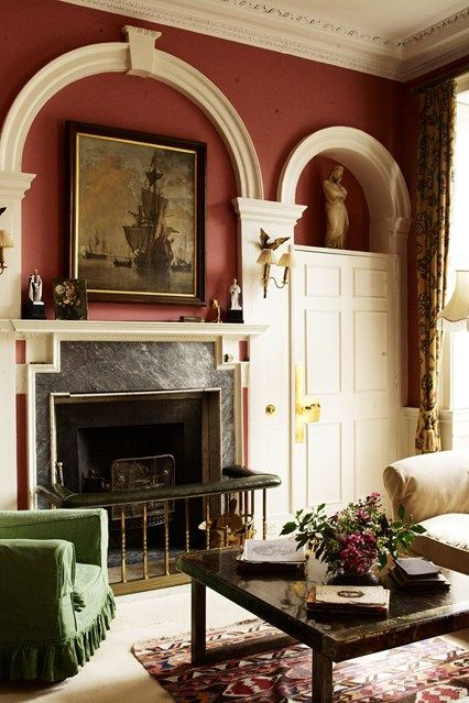 Red Living Room Plaster Features In The Eccentric Yet Traditional Faringdon House The Palladian Style