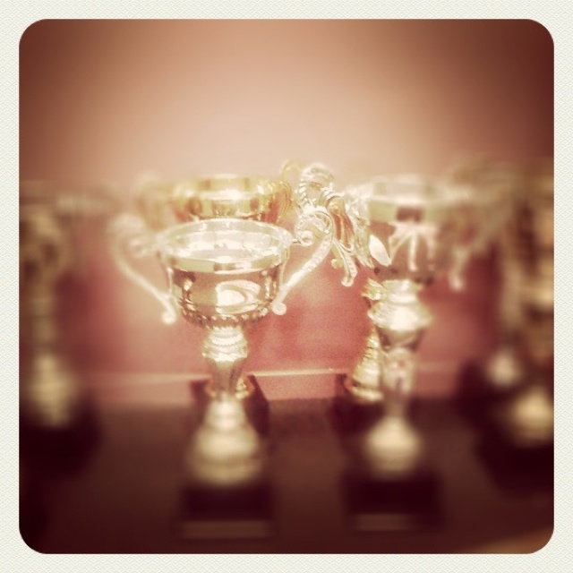 Trophies waiting for their champions