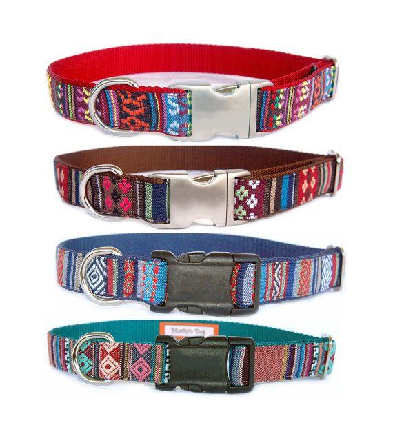 Metal or Black buckle dog collar dog leash Navajo by MaritynDog