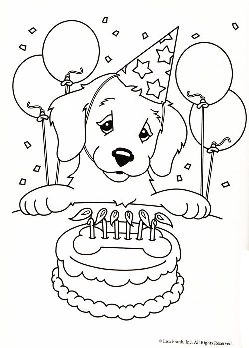 Free Printable Lisa Frank Casey Casy Camus Candy Golden Retriever Yellow Lab Birthday Party Cake Balloons Coloring Pages