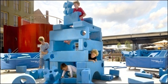 IMAGINATION PLAYGROUND [USD 7500].  Children ages 2 and up use the blocks and their own creativity to transform any space (large or small, indoors or out) into a play space that encourages learning, social development, movement, and above all fun