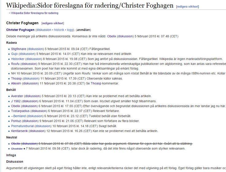 Artikel som ev ska behållas på #Wikipedia https://sv.wikipedia.org/wiki/Wikipedia:Sidor_f%C3%B6reslagna_f%C3%B6r_radering/Christer_Foghagen