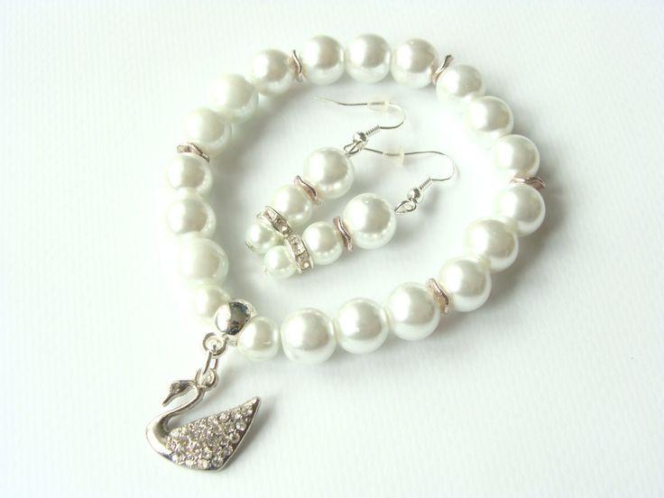 Swan Set, Brancelet and Earrings by CarolinePrecjoza on Etsy