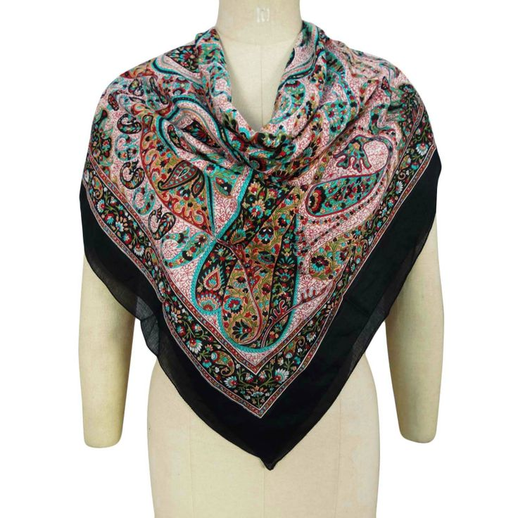 Pure Cotton Scarves For Women Floral Pattern Scarf Light Shoulder Wrap Hijab ..this is img