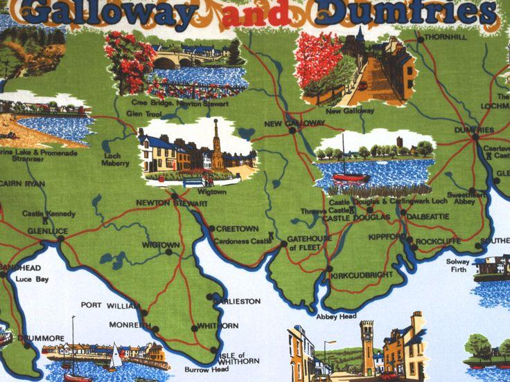 Vintage Pure Cotton Galloway & Dumfries Souvenir Map Tea Towel - 1970s Scotland Dumfries and Galloway Tea Towel by FunkyKoala on Etsy