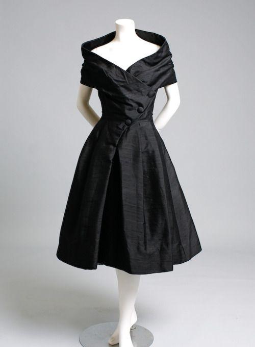 1955: vintage black cocktail dress. christian dior.