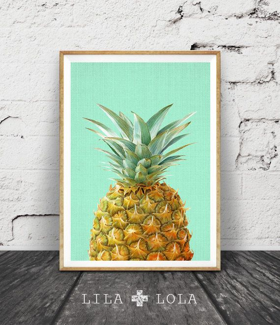 Pineapple Print, Pineapple Decor, Tropical Wall Art, Tropical Decor, Mint Green and Yellow Pineapple, Fruit Illustration, Printable Art