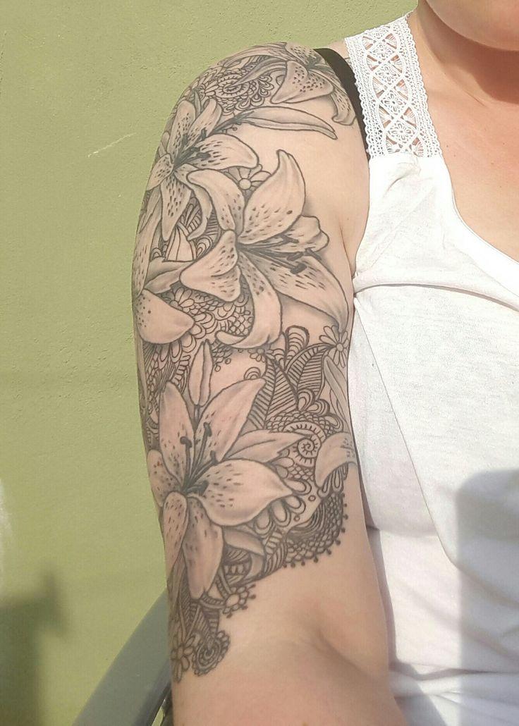 My half sleeve of lillies & mandala style backround