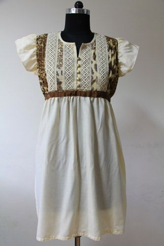 Beige Tiger Print Tunic, Front pleated net with contrasting crochet lace, Bronze ribbon on waist on back, Split scoop neckline.