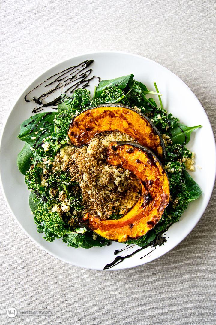 Pumpkin Millet Kale Salad with Balsamic Reduction