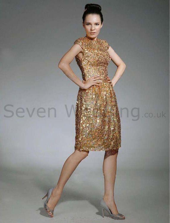 knee length sequin dresses   ... Sequin Fabric Knee-length Evening Dress - Wedding Dresses UK Shop