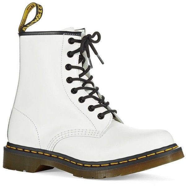Dr. Martens Women's Original Dr Martens Boots (380 BRL) ❤ liked on Polyvore featuring shoes, boots, ankle boots, white, laced up ankle boots, white ankle boots, high heel bootie, laced boots and lace up ankle boots