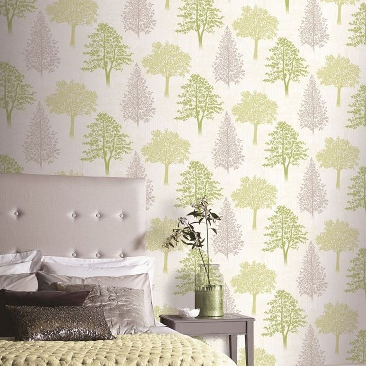 Diamond Tree Wallpaper Green Arthouse 259000  This beautiful Tree Wallpaper will add a stylish finishing touch to any room. The wallpaper features a collection of stunning tree silhouettes in green and grey, set on a soft cream background patterned with subtle pale grey tree silhouettes. The design is printed onto high quality paper that has a textured stripe effect and is infused with shimmering glitter particles. Easy to apply, this wallpaper will look great when used to decorate a whole…