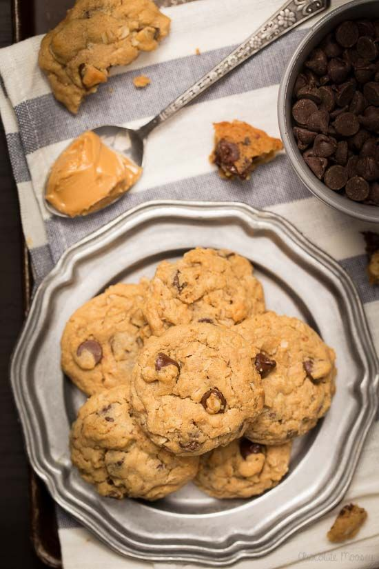 Chocolate Chip Peanut Butter Oatmeal Cookies that are soft and nutty
