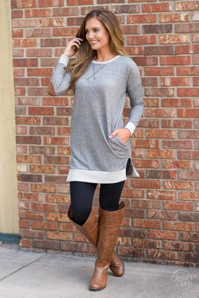 Feels Like Home Sweatshirt Tunic - Charcoal