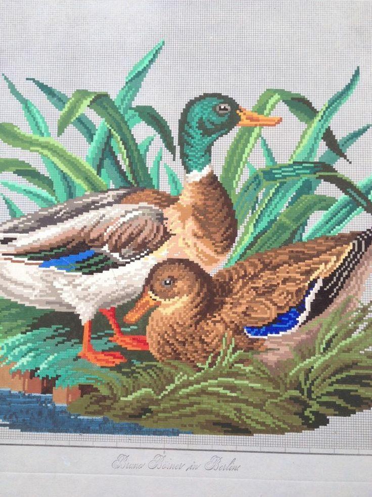 Antique Berlin Woolwork Pattern - Water Fowl (1)