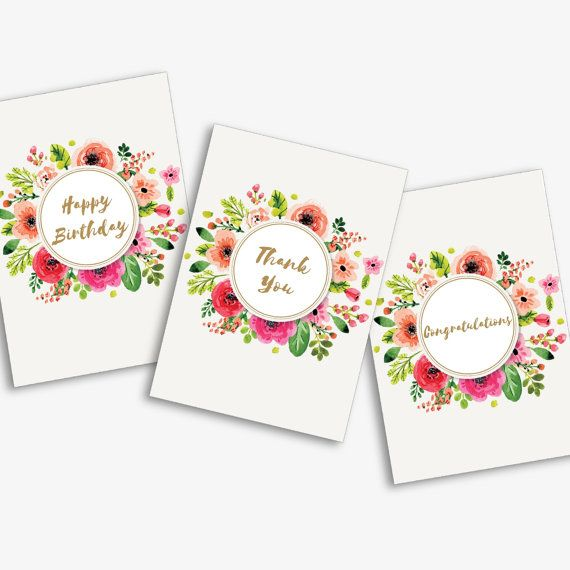Pack of 6 Floral Occasion Cards - Floral Cards - Friendship Cards - Notecards - Gold Designs - Modern notecards