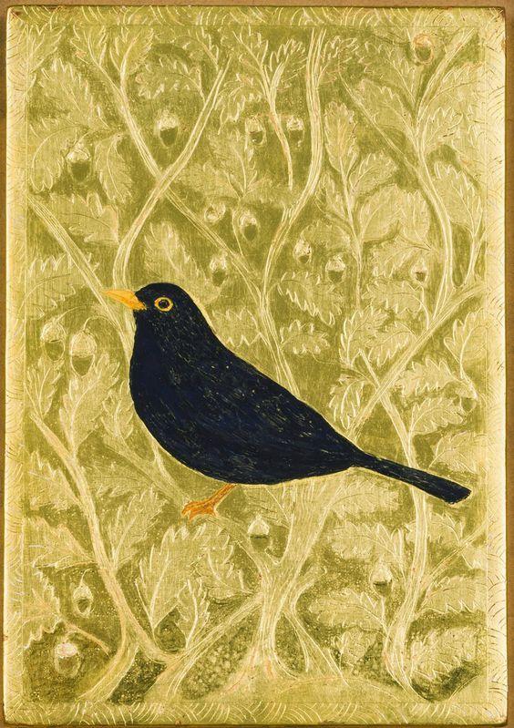 Jethro buck, blackbird painting on gold leaf.