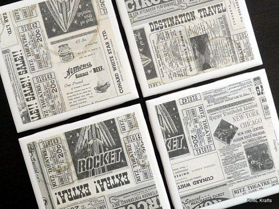 Newspaper Tile Coasters Tile Coasters Coaster by KimLKrafts