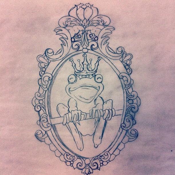 Created by Heather Richardson DBA Vintage Soul  Instagram-header_feader  Facebook.com/tattereddreams  prince frog drawing tattoo idea/ design