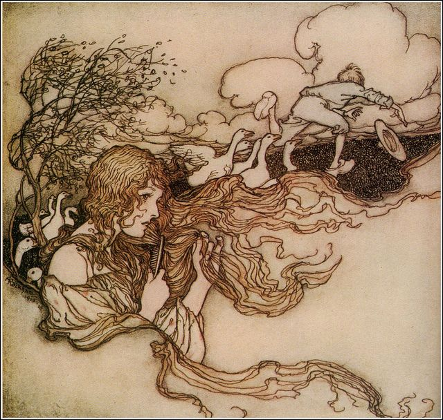 """An illustration by Arthur Rackham from the story """"The Goosgirl"""", by the brothers Grimm."""